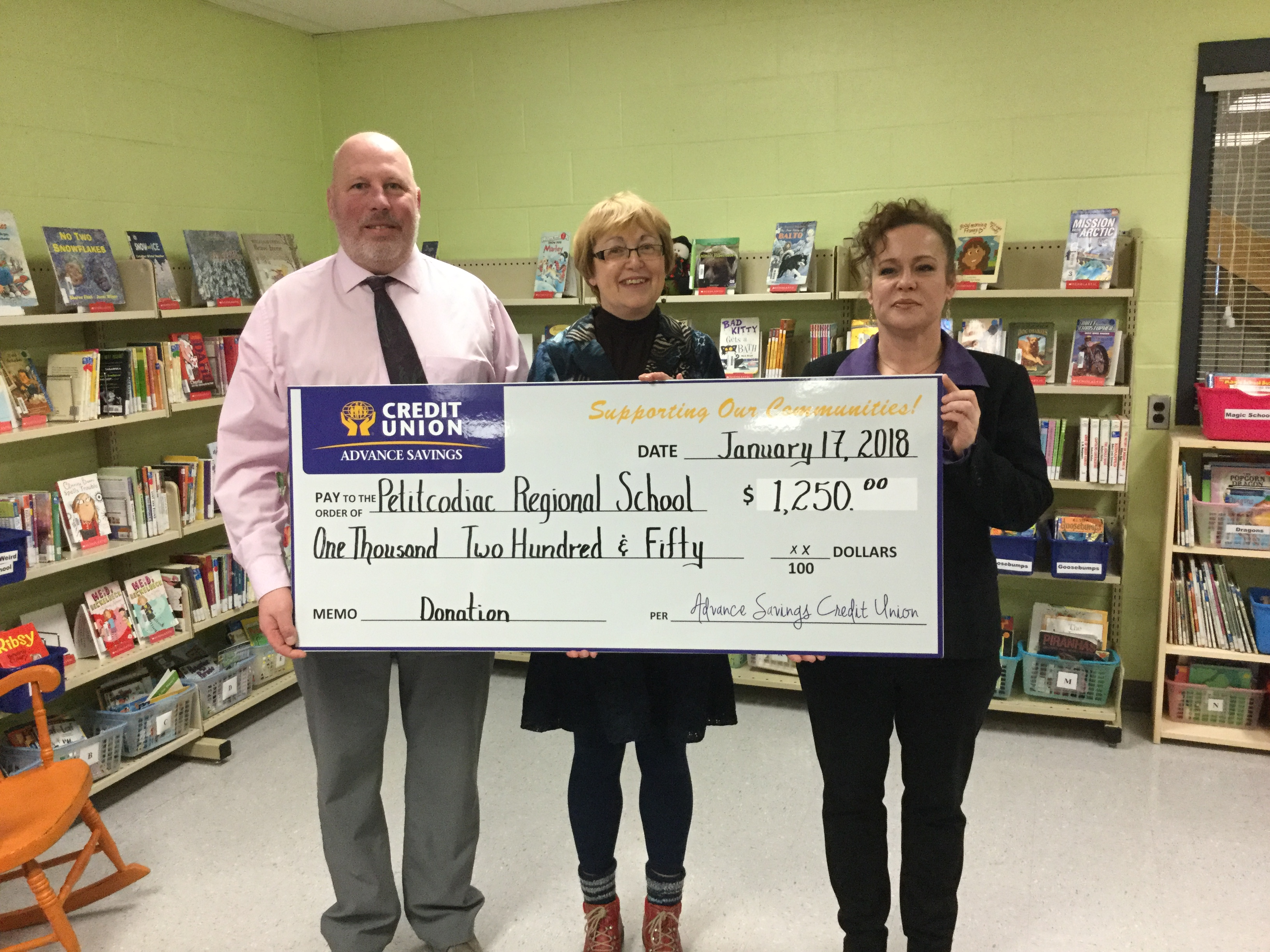 Advance Savings Credit Union Library Donation January 17, 2018.JPG