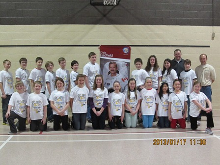 Students who communicated with Commander Chris Hadfield with Greg D'Entremont and Peter Campbell.