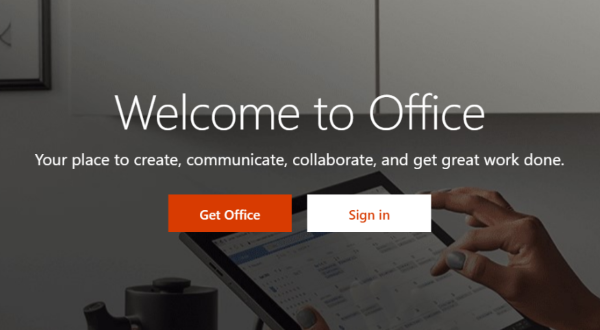 Image of login screen for Office 365