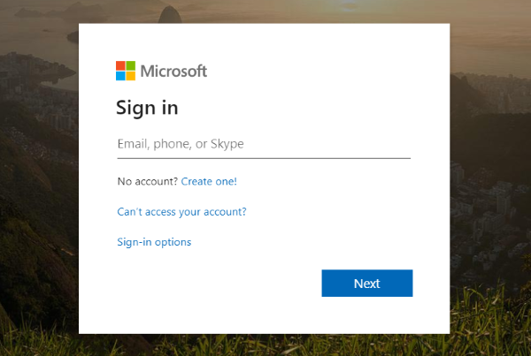 Image of Office 365 username entry screen